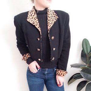 90s Vintage Cheetah Print Cropped Blazer Jacket